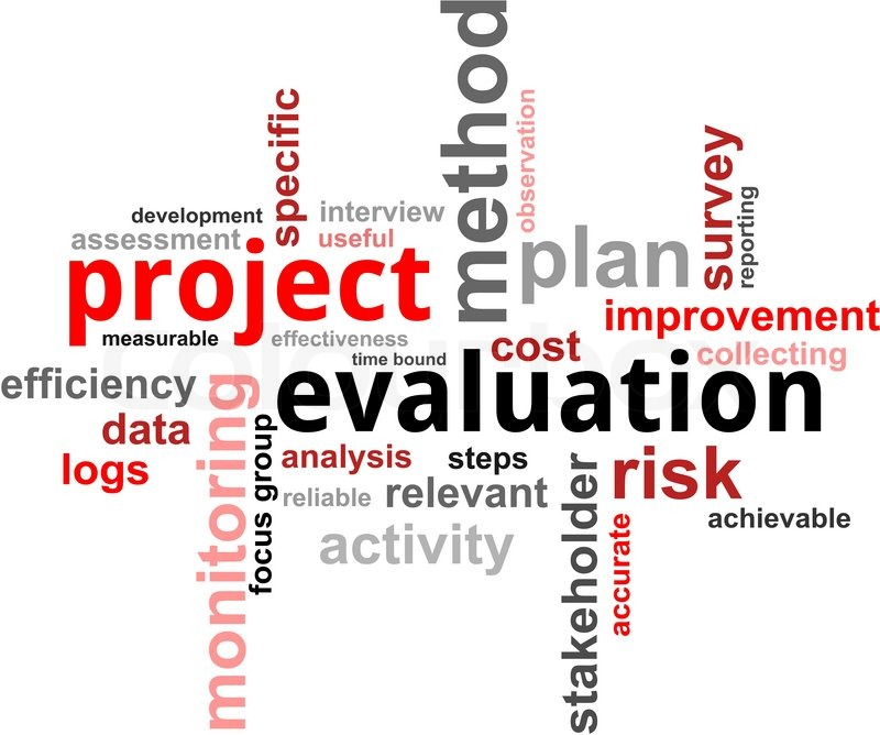 A word cloud of project evaluation related items Stock Vector