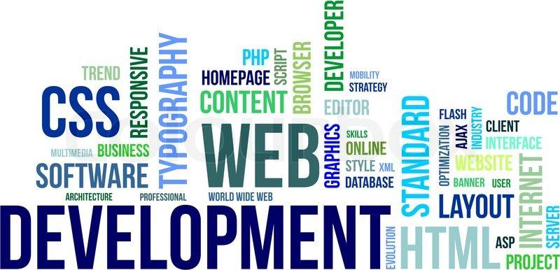 A word cloud of web development Stock Vector Colourbox