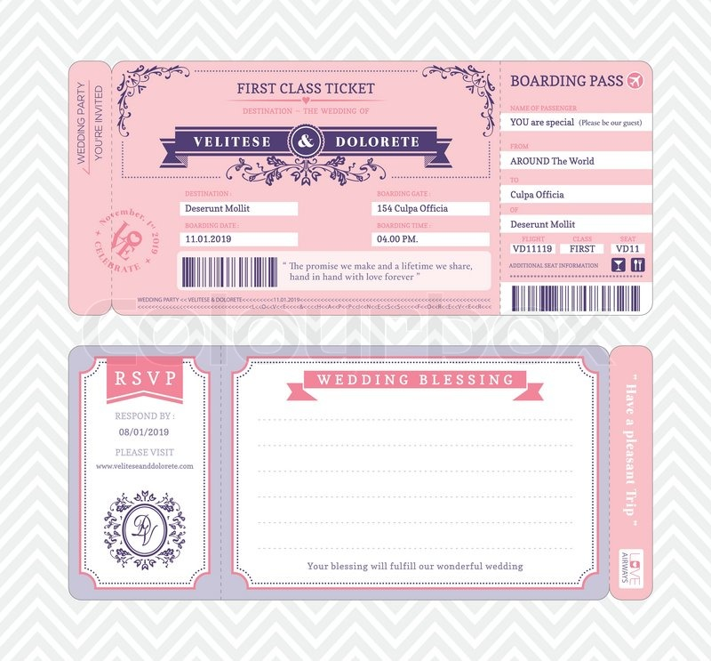 Boarding Pass Ticket Wedding Invitation Template Stock Vector - plane ticket invitation template