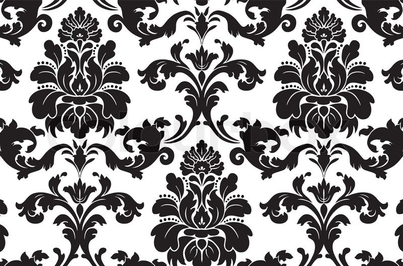 Vector Seamless damask pattern Fabric swatch Black and white Stock