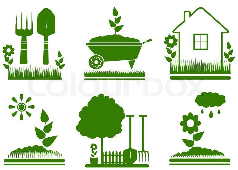 Garten Landschaftsbau Symbole isoliert Vektorgrafik Colourbox - garten und landschaftsbau