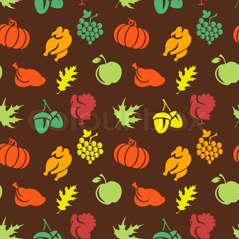 Fall Maple Leaf Tiled Wallpaper Thanksgiving Seamless Pattern Stock Vector Colourbox