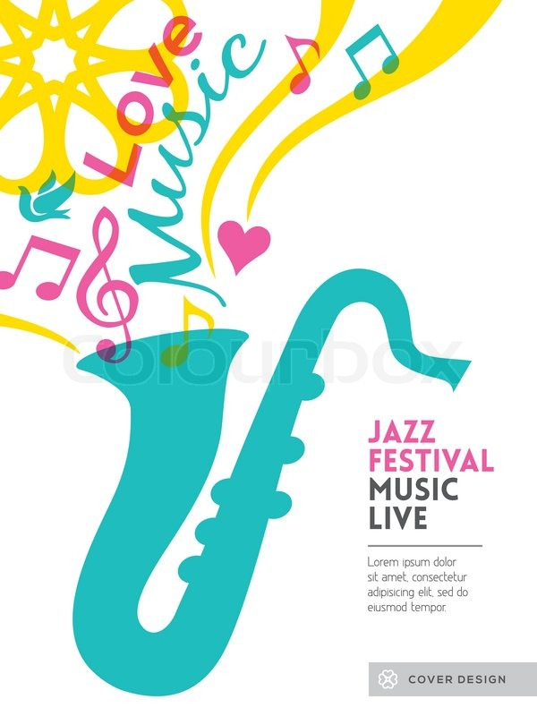 Jazz music festival graphic design background template layout for