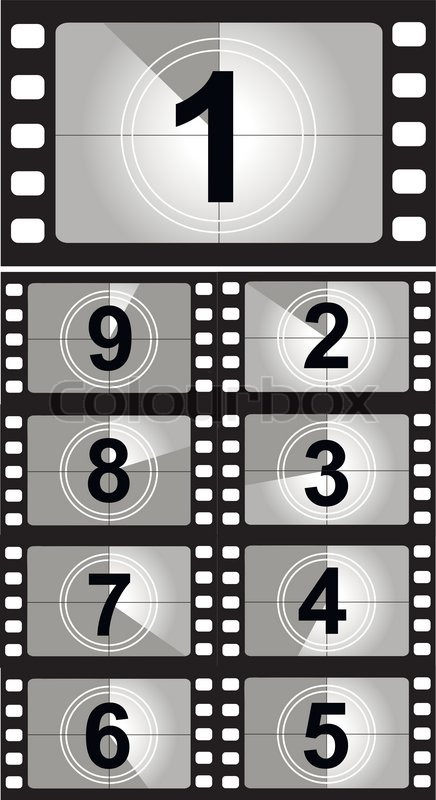 Film countdown numbers Vector Stock Vector Colourbox