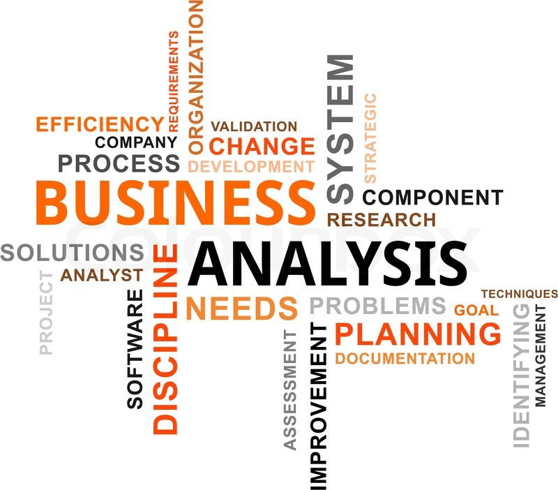 A word cloud of business analysis related items Stock Vector