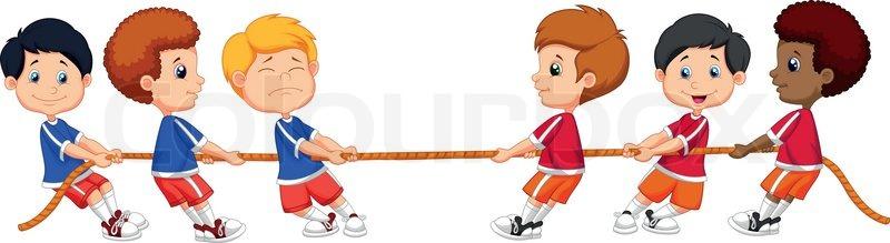Vector illustration of Group cartoon of children playing Tug Of War - cartoon children play