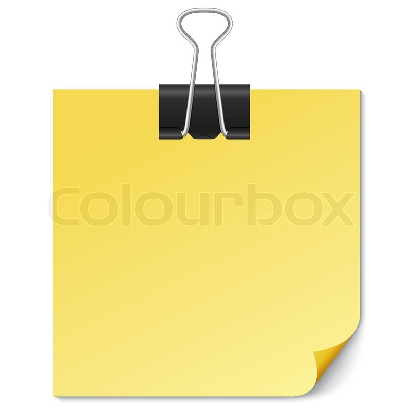 Yellow Note paper with Binder clip on white background Vector