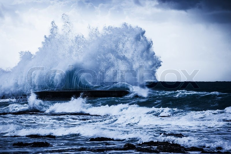 Stormy ocean waves, beautiful seascape, big powerful tide in action