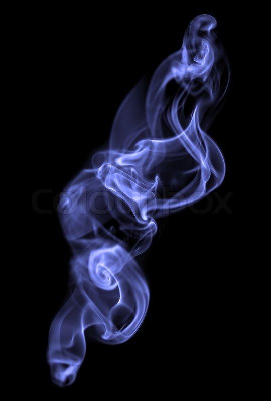 Blue smoke on a black background Stock Photo Colourbox