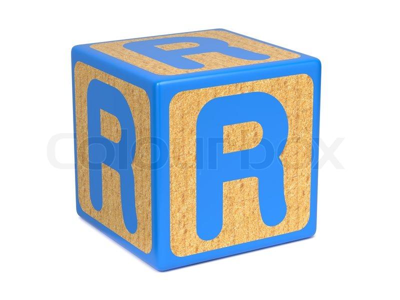 Letter R on Childrens Alphabet Block Stock Photo Colourbox