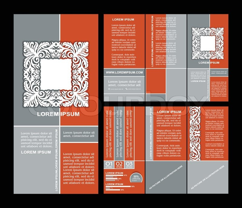 Vintage style brochure template design with modern art elements and - retro brochure template