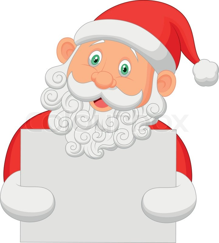 Santa cartoon holding blank sign Stock Vector Colourbox