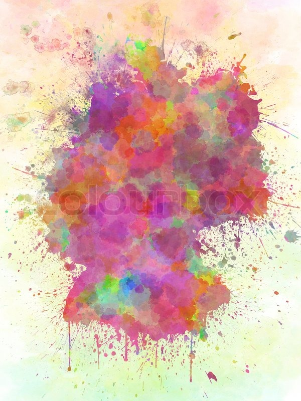 Blanco Deutschland Deutschland-karte-aquarell-stil-splash | Stockfoto | Colourbox