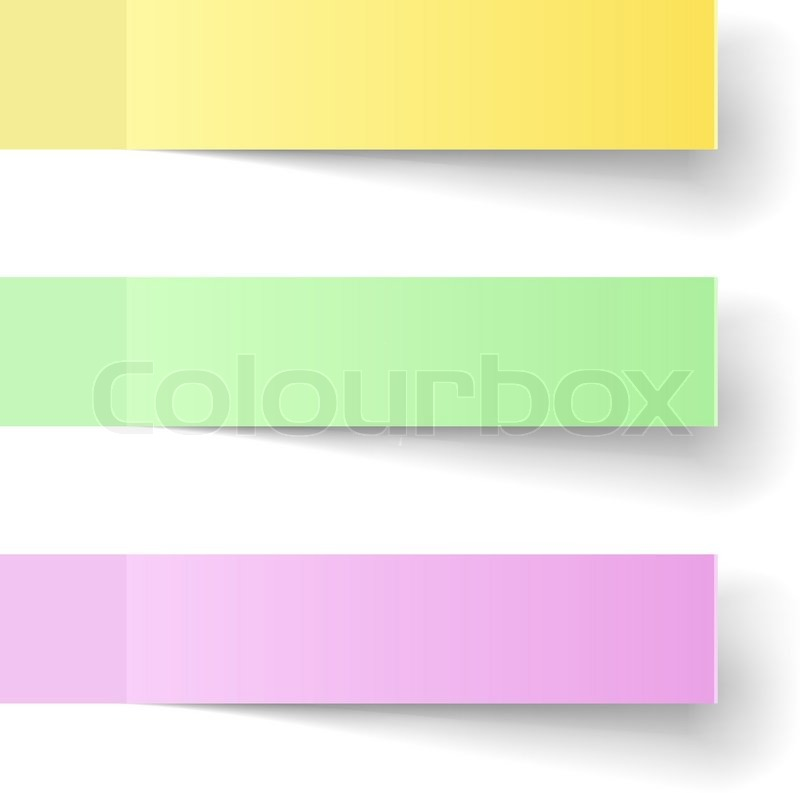Color sticky notes vector template with shadow Stock Vector - stickey notes