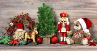 Nostalgic christmas decoration with antique toys teddy ...