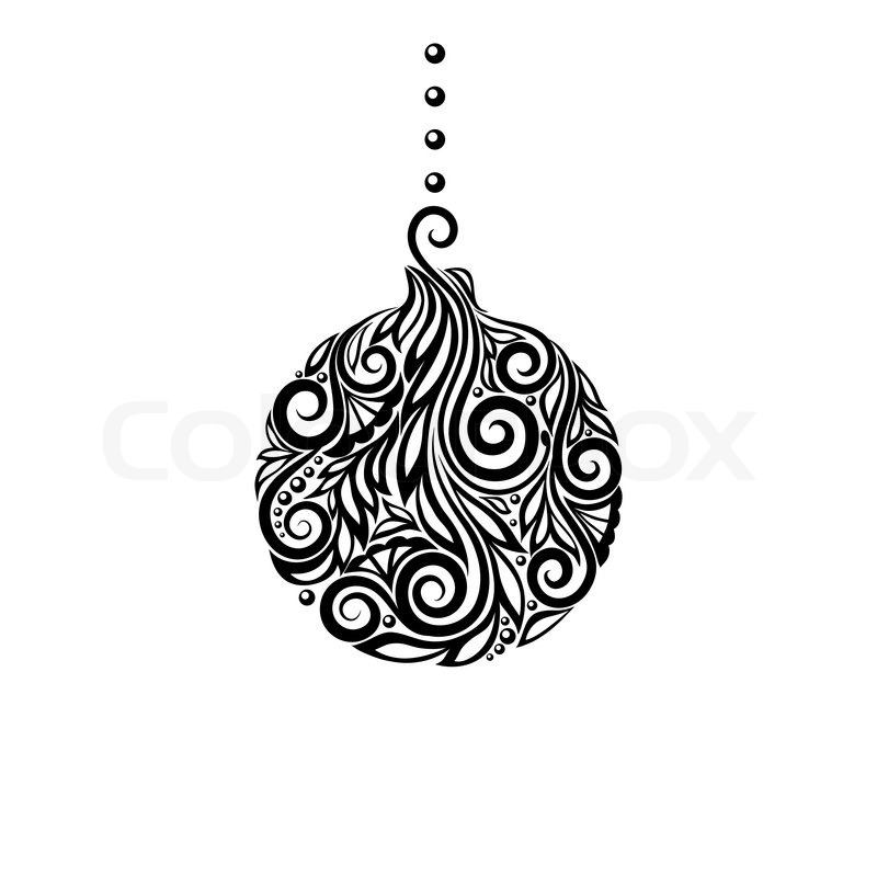 Black and White Christmas ball Great design element for decorating - christmas cards black and white