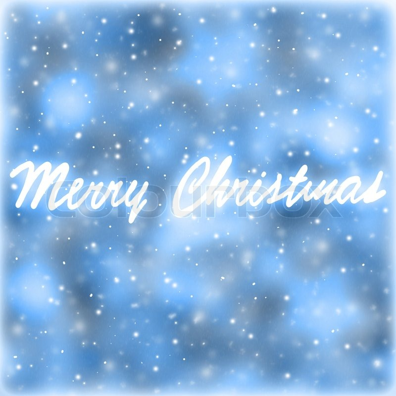 Merry Christmas greeting card, blue abstract background with