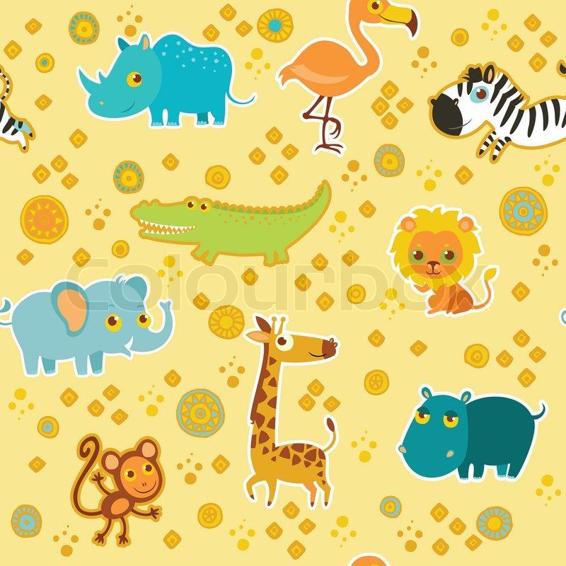 Fall Pug Wallpaper African Cartoon Animal Vector Seamless Pattern Stock