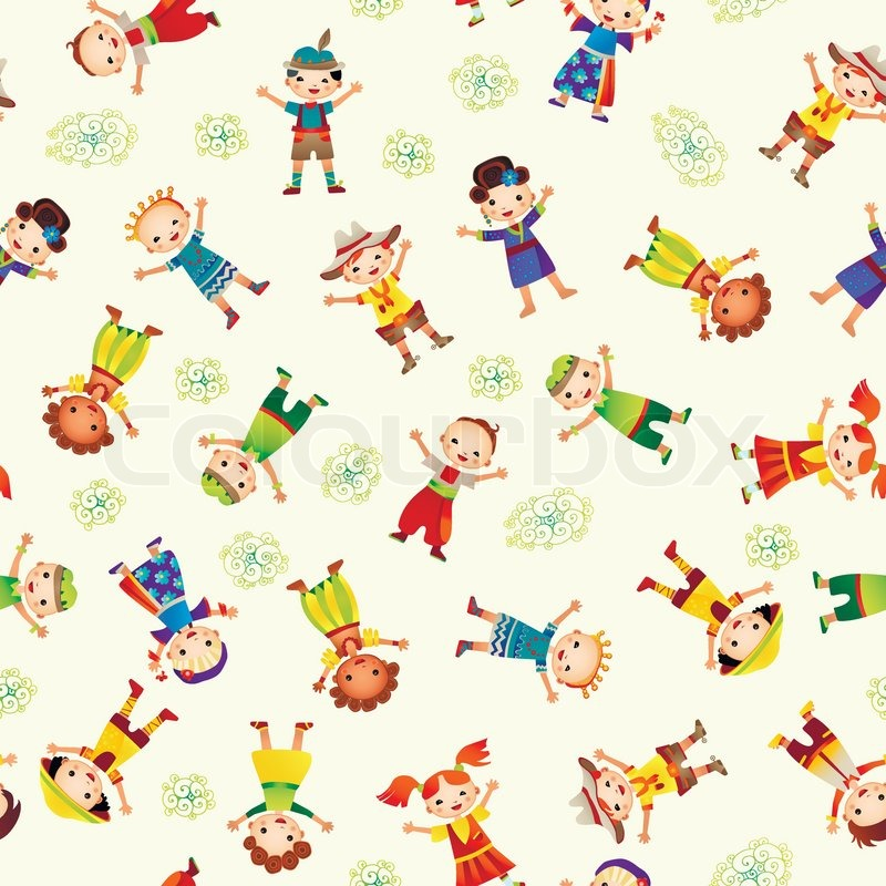 Seamless background with cute kids Stock Vector Colourbox