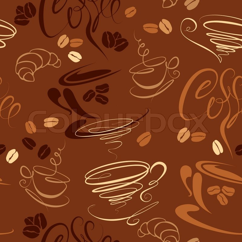 Seamless pattern with coffee cups, beans, croissant, calligraphic