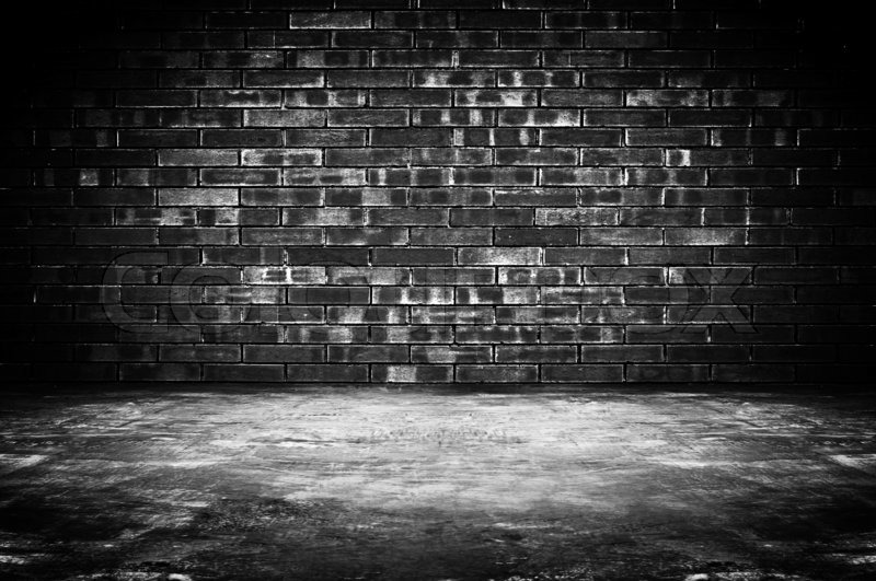 3d Grey Brick Effect Wallpaper Old Dark Room With Brick Wall And Concrete Floor As