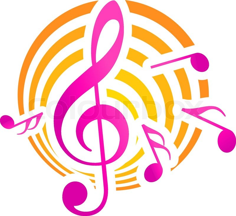 Treble clef musical themed icon, over a yellow and pink circular - clef music