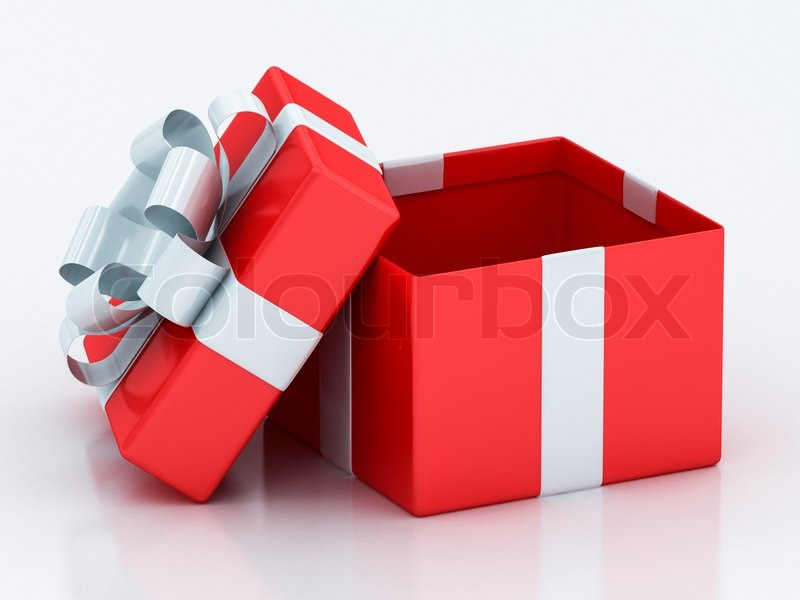 Open Red Gift Boxes With White Ribbon On A White