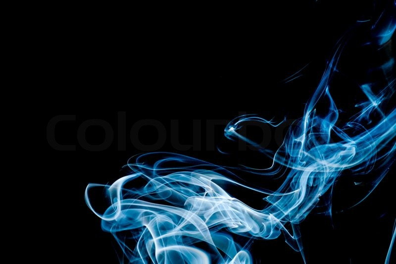 Light Blue Abstract Smoke on Black Background Stock Photo Colourbox