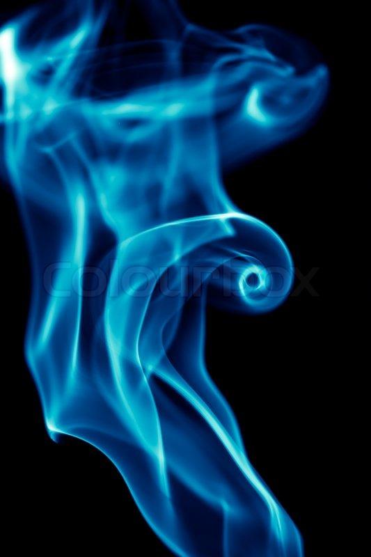 Blue smoke on black background Stock Photo Colourbox