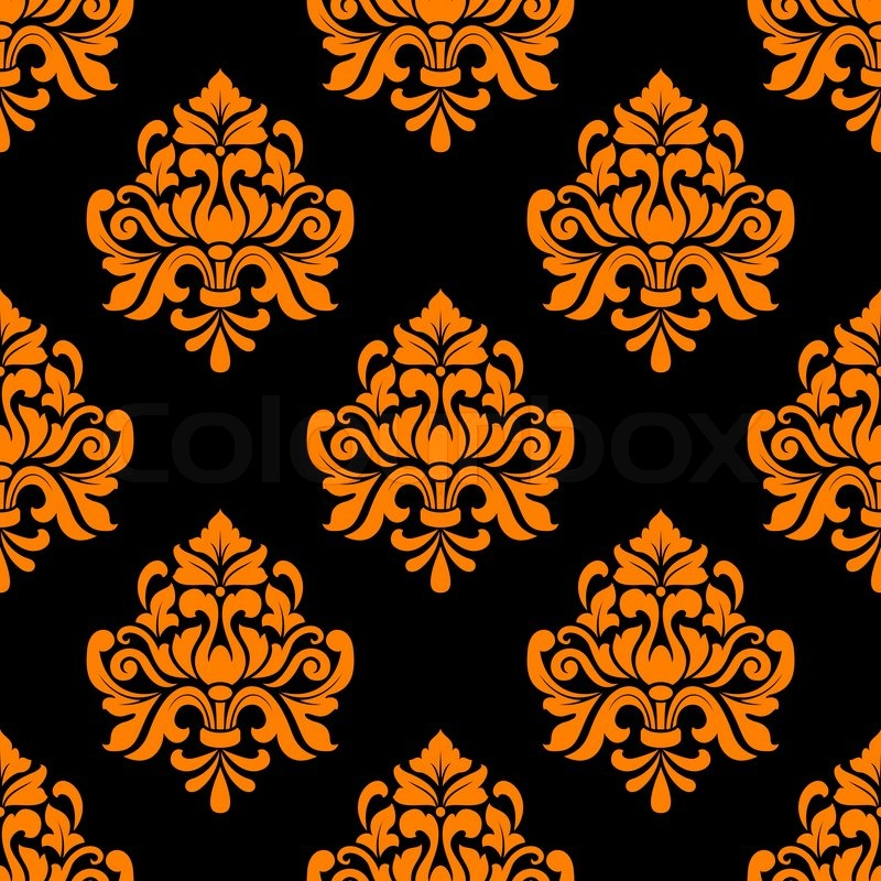Fall Foliage Computer Wallpaper Black And Orange Seamless Floral Pattern In Damask Style