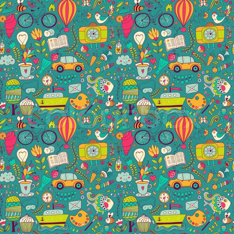Cute Wallpapers Puppy Drawing Vector Seamless Pattern Childish Doodles Pattern Set Of