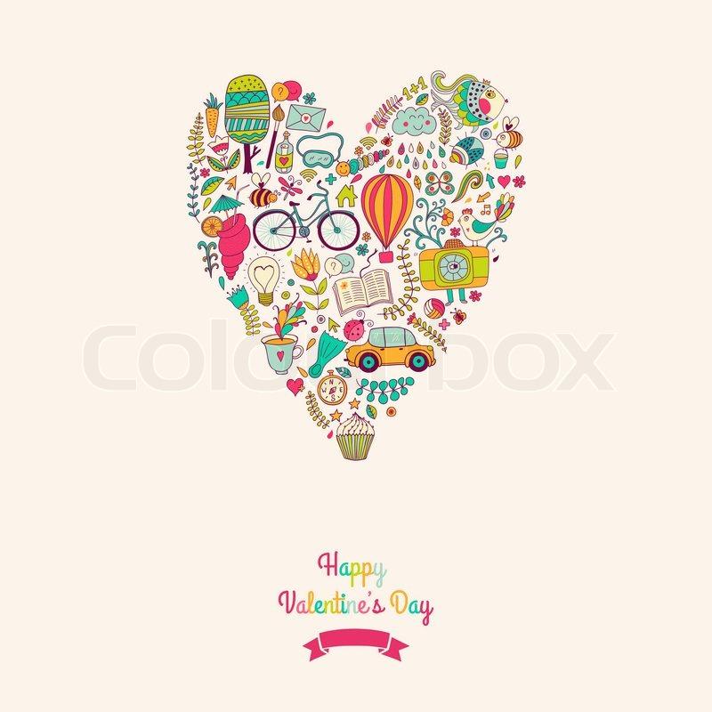 Vector doodles heart, valentine\u0027s day card Kids, travel, enjoy life
