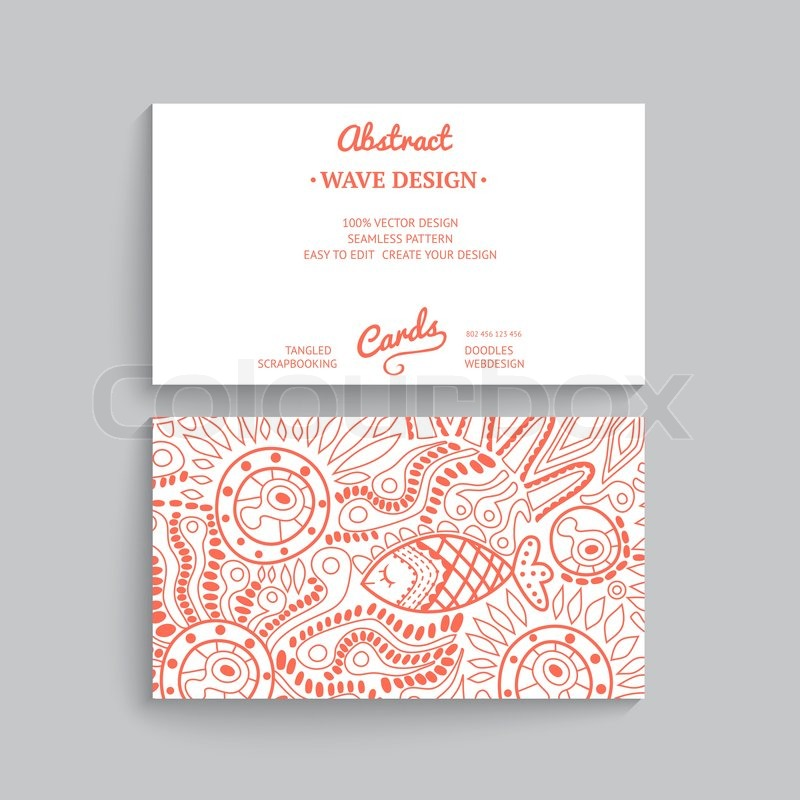 Vector simple business card template with decorative ornament - simple business
