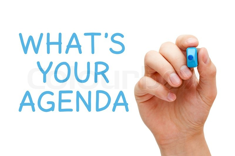 Hand writing What\u0027s Your Agenda with Stock Photo Colourbox