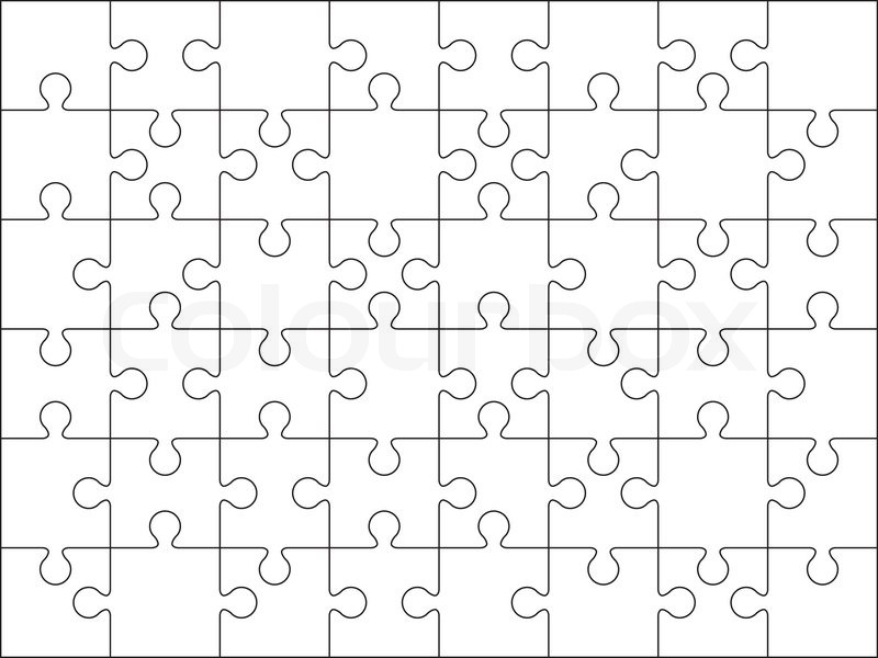 48 Jigsaw puzzle blank template or cutting guidelines on 8*6