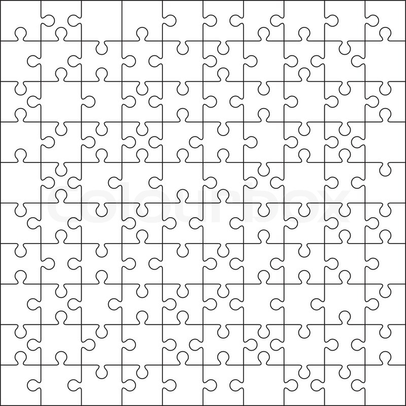 100 Jigsaw puzzle blank template or cutting guidelines Stock