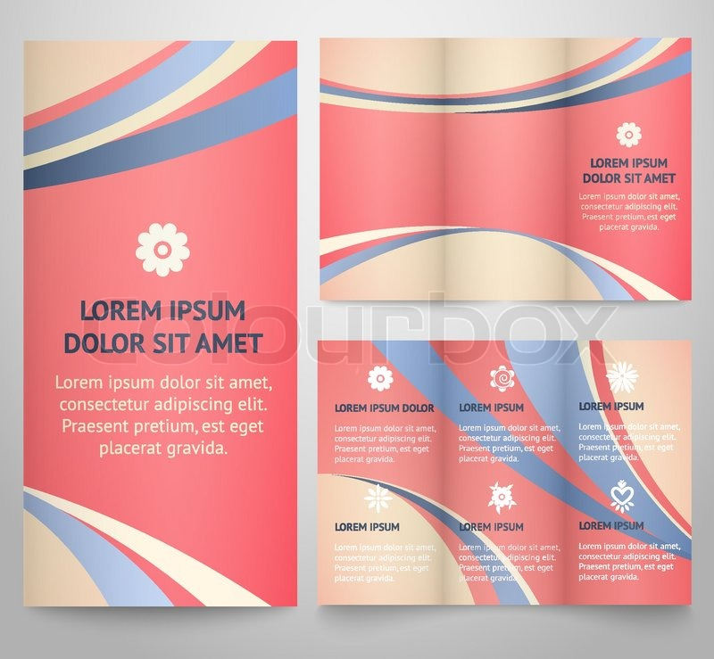 Professional three fold business flyer template, corporate brochure