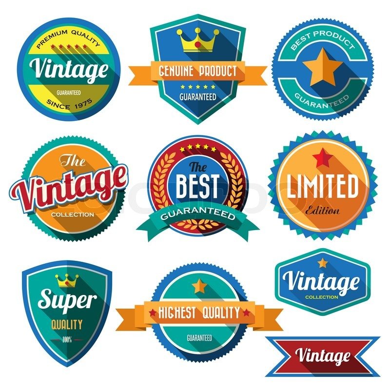 Set of retro vintage badges and labels Flat design with long shadow