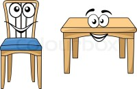 Cute cartoon wooden furniture with a happy smiling table ...