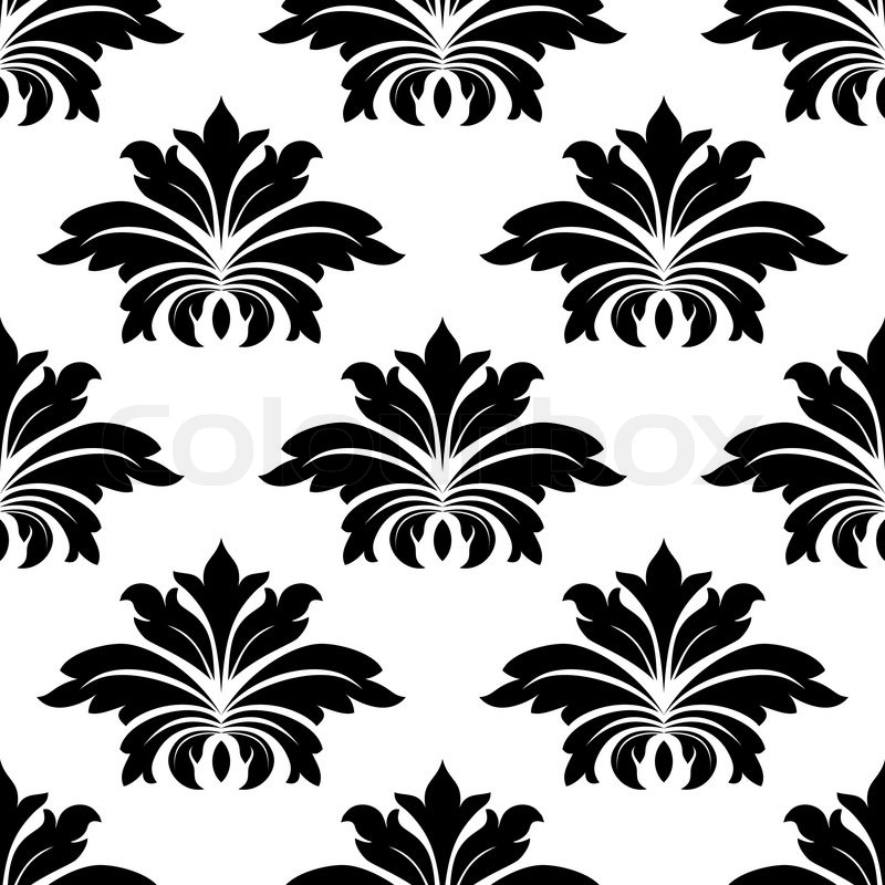 Damask seamless pattern with bold Stock Vector Colourbox
