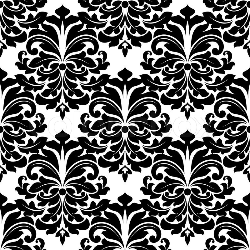 Black and white damask seamless pattern for background, wallpaper