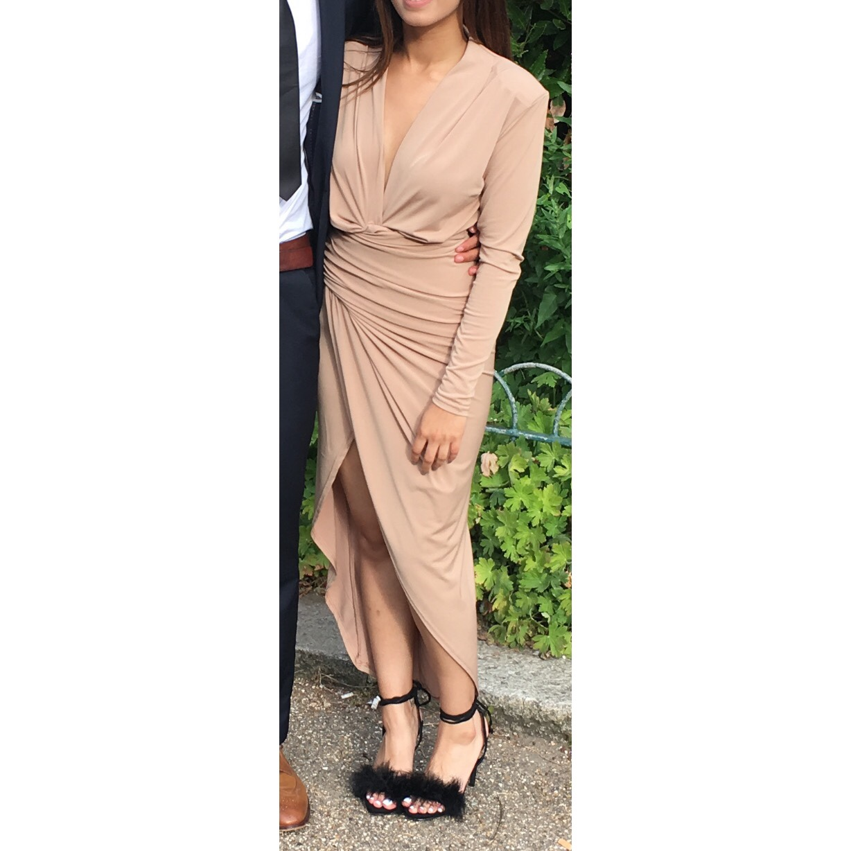 Nude Look Nude New Look Asymmetric Dress, Very Flattering!... - Depop