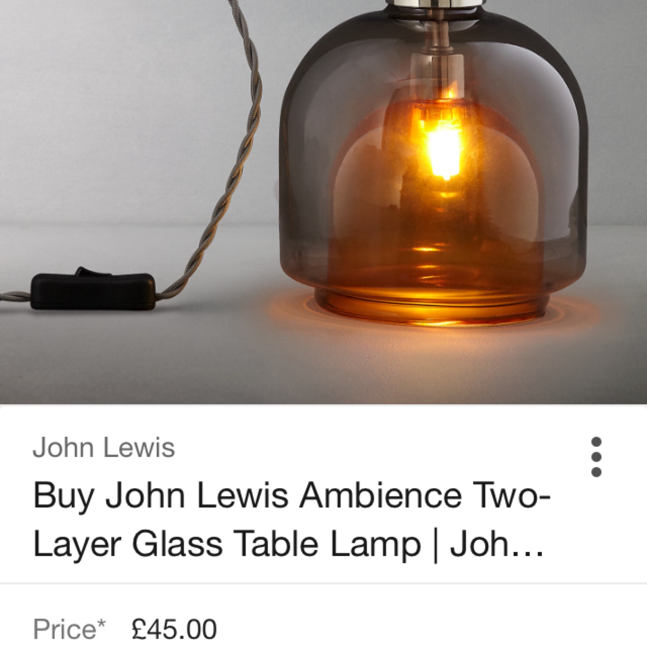 Glass Lamp John Lewis Vintage Style John Lewis Ambience Two Layer Glass Depop
