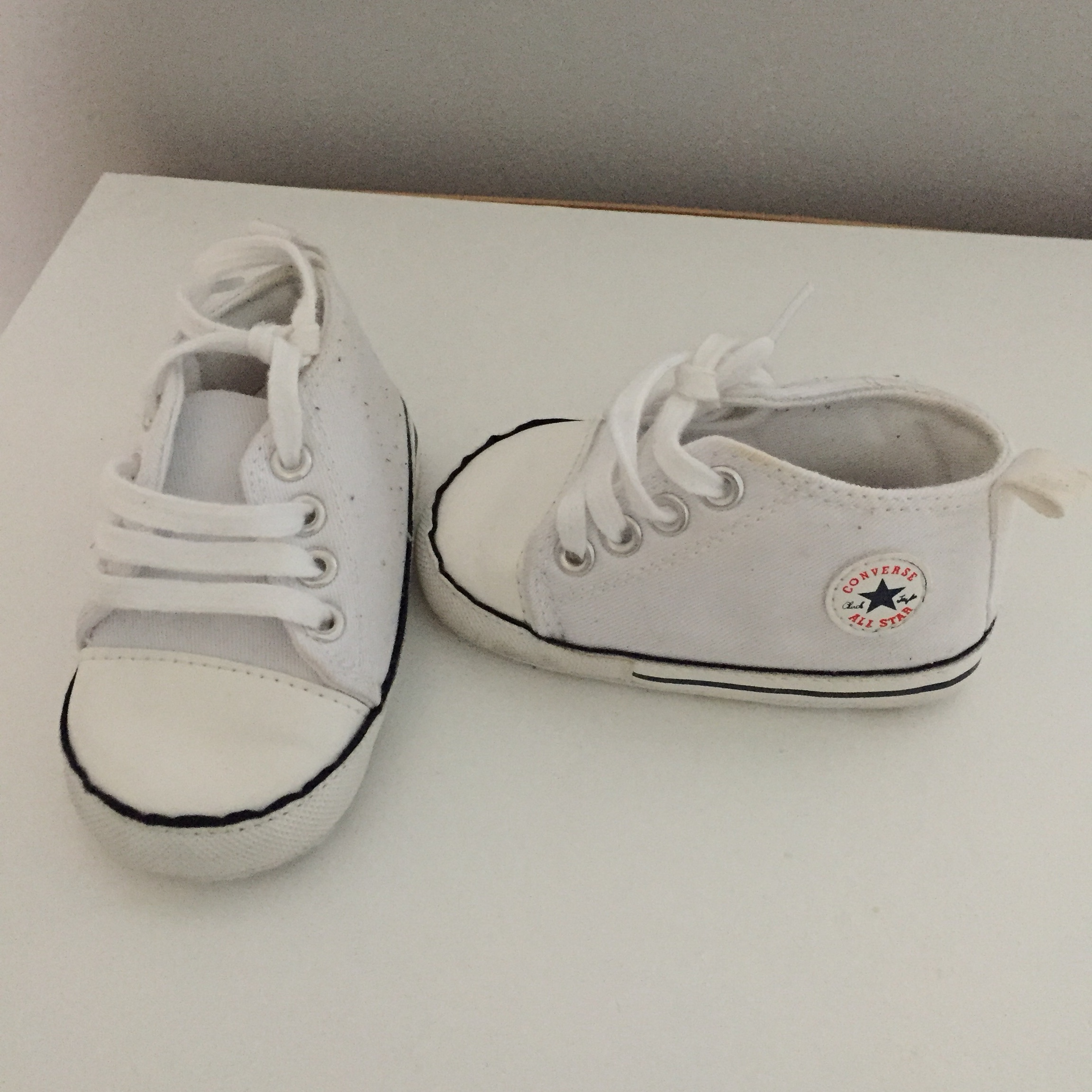 Baby White Converse Pram Shoes Baby Converse Pram Shoes Great Condition Size 2 Depop