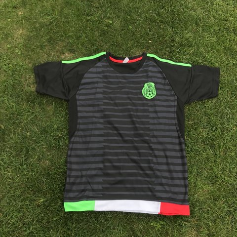 Mexico Soccer Jersey Black/Red/White/Green Stripes on No - Depop