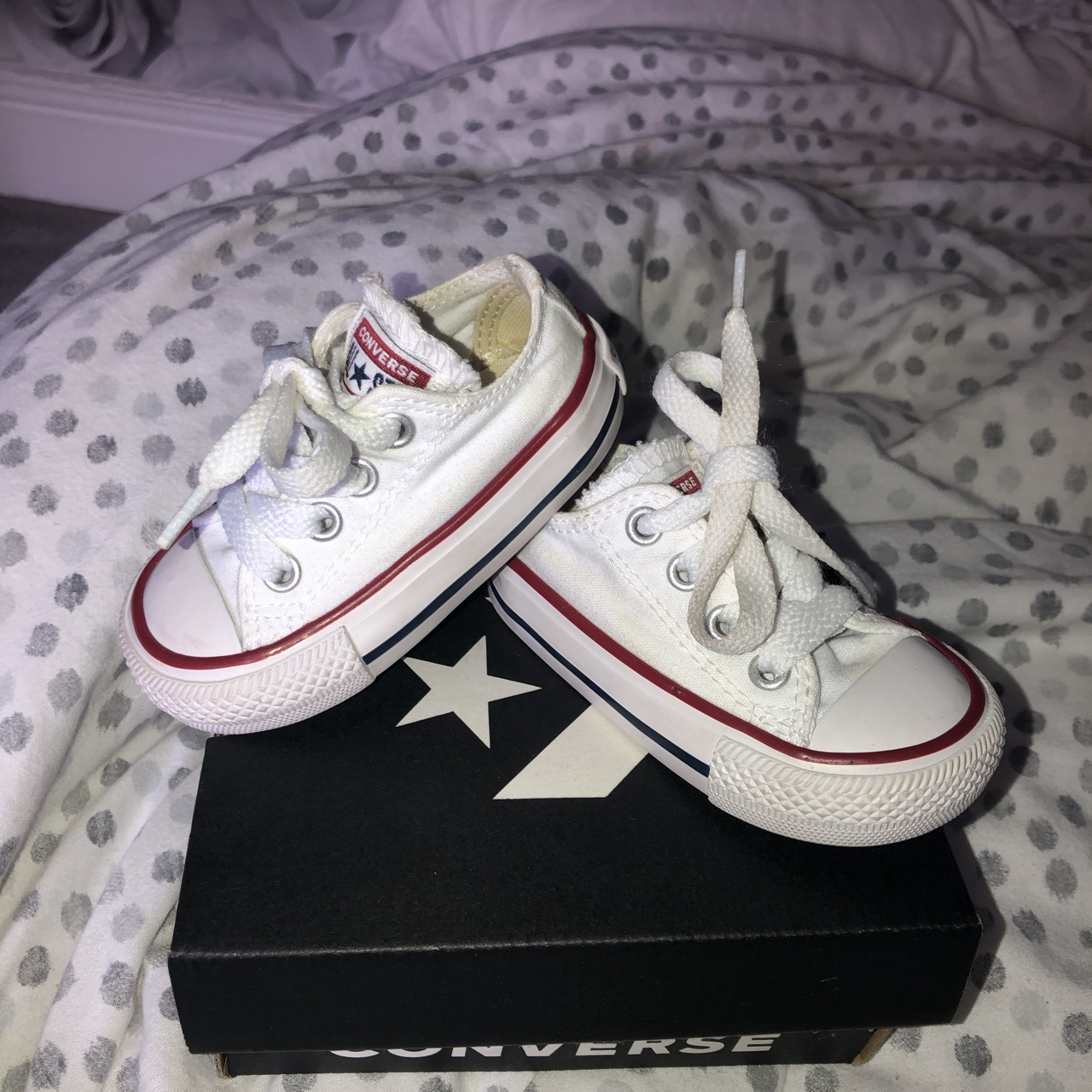 Baby White Converse Pram Shoes Good Condition White Baby Converse Size 3 Worn A Depop