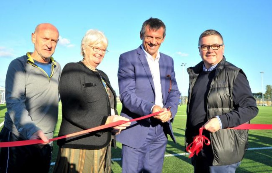 Swindon Town FC manager Phil Brown opens all-weather pitch at New