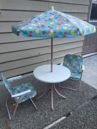 Outdoor Kids Patio set table, chairs and umbrella (Baby ...