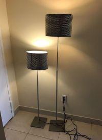 IKEA Alang Floor Lamps (2), nickel plates, Grey cover ...