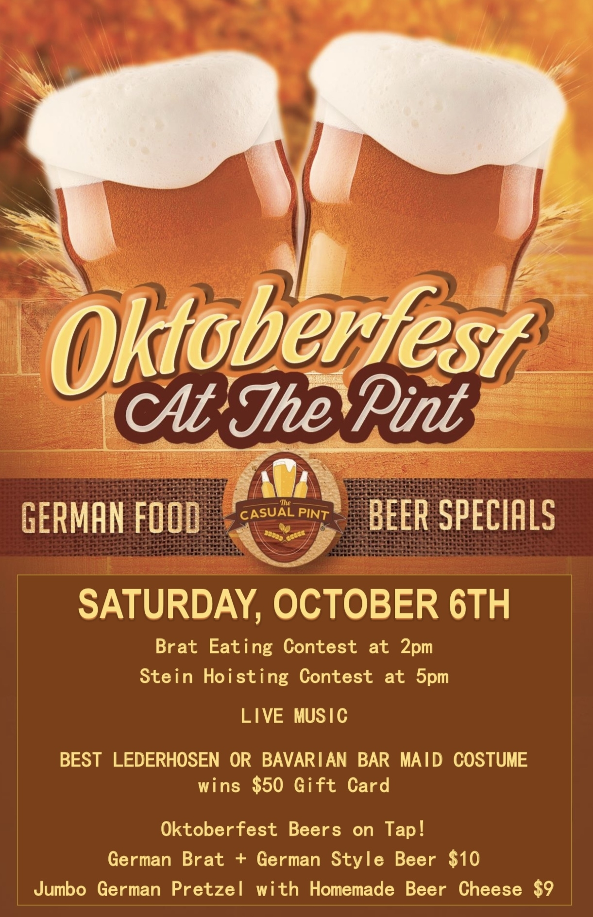 Beer Specials Oktoberfest At The Pint
